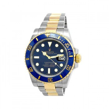 40mm Rolex 18k Yellow Gold and Stainless Steel Oyster Perpetual Submariner Watch 116613LB