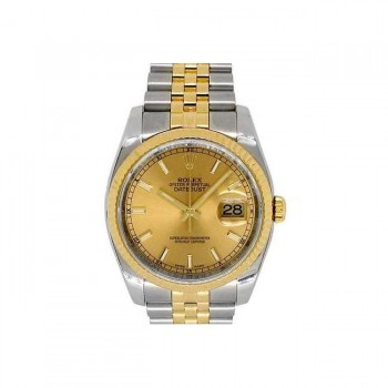 36mm Rolex 18k Yellow Gold and Stainless Steel Oyster Perpetual Datejust Watch 116233