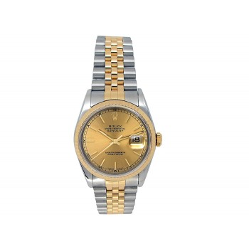 Rolex 18k Yellow Gold and Stainless Steel Datejust Watch 34637