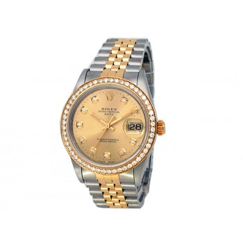 34mm Rolex 18k Yellow Gold and Stainless Steel Oyster Perpetual Date Watch