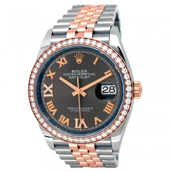 36mm Rolex 18k Rose Gold and Stainless Steel Oyster Perpetual Datejust Watch