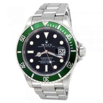 """40mm Rolex Stainless Steel Oyster Perpetual Submariner Date """"Kermit"""" Watch"""