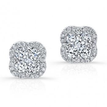 WHITE GOLD DIAMOND CLUSTER FLOWER EARRINGS