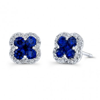 NATURAL COLOR WHITE GOLD SAPPHIRE FLOWER DIAMOND EARRINGS