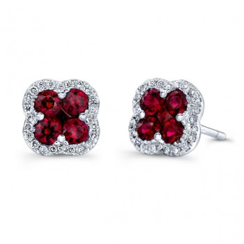 NATURAL COLOR WHITE GOLD ELEGANT FLOWER RUBY EARRINGS