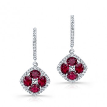 NATURAL COLOR WHITE GOLD VINTAGE RUBY FLOWER DIAMOND DROP EARRINGS