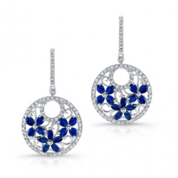NATURAL COLOR WHITE GOLD SAPPHIRE DIAMOND FLOWER EARRINGS