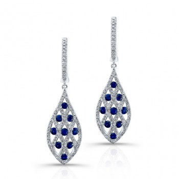 NATURAL COLOR WHITE GOLD CONTEMPORARY SAPPHIRE DIAMOND EARRINGS
