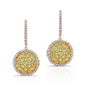 ROSE GOLD CONTEMPORARY FANCY YELLOW CLUSTER DIAMOND EARRINGS