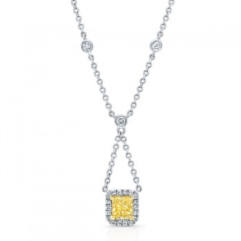 WHITE AND YELLOW GOLD ELEGANT RADIANT FANCY YELLOW DIAMOND PENDANT