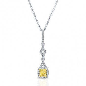 WHITE AND YELLOW GOLD ELEGANT CUSHION FANCY YELLOW DIAMOND PENDANT