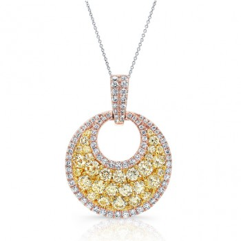 ROSE GOLD CONTEMPORARY FANCY YELLOW ROUND DIAMOND CLUSTER PENDANT