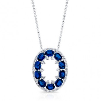 NATURAL COLOR WHITE GOLD ELEAGANT SAPPHIRE DIAMOND PENDANT