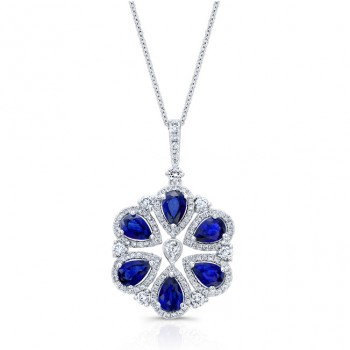 WHITE GOLD NATURAL COLOR INSPIRED VINTAGE SAPPHIRE DIAMOND PENDANT