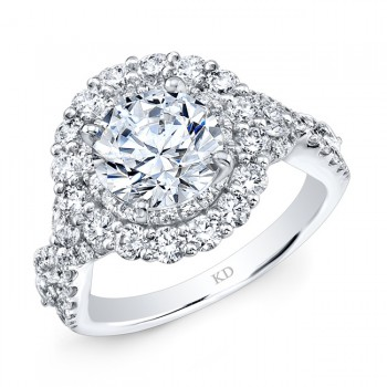 WHITE GOLD INSPIRED TWISTED HALO DIAMOND ENGAGEMENT RING