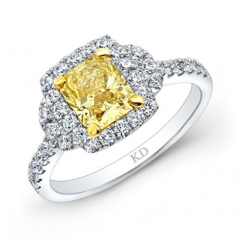 WHITE AND YELLOW GOLD FANCY YELLOW RADIANT DIAMOND BRIDAL RING