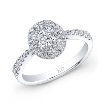 WHITE GOLD CLASSIC DIAMOND CLUSTER ENGAGEMENT RING