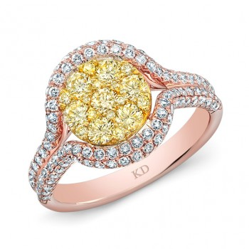 ROSE GOLD NATURAL YELLOW CLUSTER DIAMOND RING