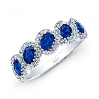 WHITE GOLD NATURAL COLOR INSPIRED OVAL SAPPHIRE DIAMOND RING