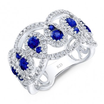 NATURAL COLOR WHITE GOLD FASHION SAPPHIRE DIAMOND RING
