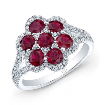 WHITE GOLD NATURAL COLOR STYLISH FLOWER RUBY DIAMOND RING