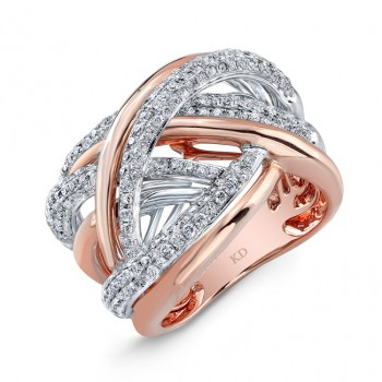 WHITE AND ROSE GOLD SWIRLED FASHION DIAMOND BAND