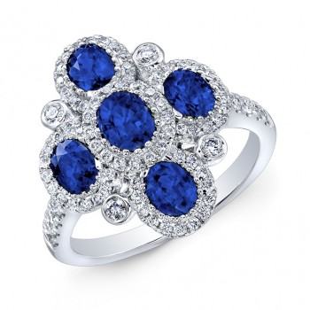 NATURAL COLOR WHITE GOLD FASHION SAPPHIRE FLOWER DIAMOND RING
