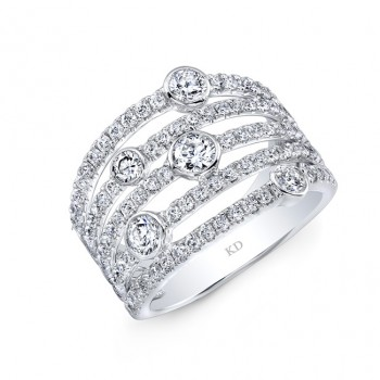 WHITE GOLD  MULTI BAND ELEGANT DIAMOND FASHION BAND