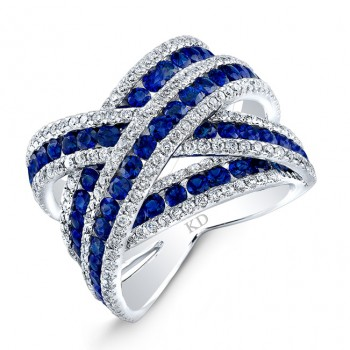 WHITE GOLD NATURAL COLOR CRISS CROSS SAPPHIRE DIAMOND RING