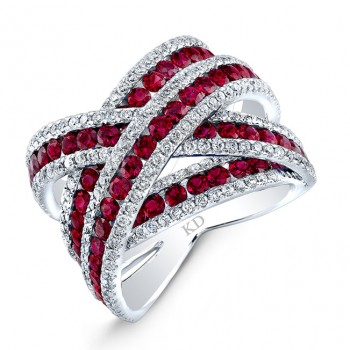 WHITE GOLD NATURAL COLOR CRISS CROSS RUBY DIAMOND RING