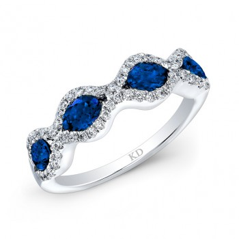 NATURAL COLOR WHITE GOLD ELEGANT SAPPHIRE DIAMOND RING