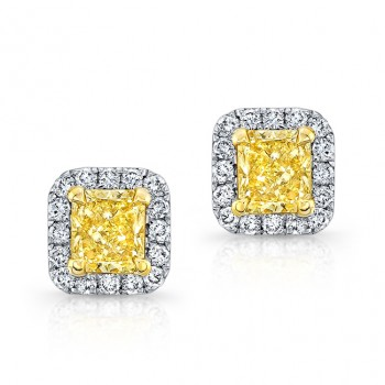 WHITE AND YELLOW GOLD RADIANT FANCY YELLOW DIAMOND STUD EARRINGS