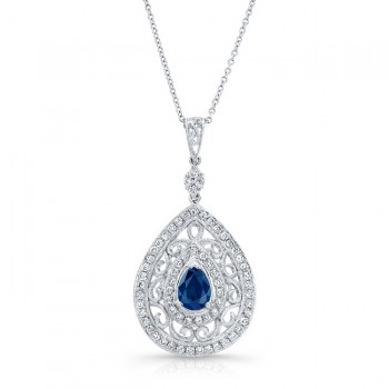 NATURAL COLOR WHITE GOLD VINTAGE SAPPHIRE TEAR DROP DIAMOND PENDANT