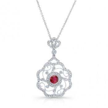 NATURAL COLOR WHITE GOLD VINTAGE RUBY FLOWER DIAMOND PENDANT