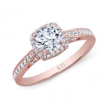 ROSE GOLD CLASSIC CUSHION HALO DIAMOND ENGAGEMENT RING