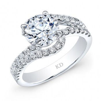 WHITE GOLD FASHION SWIRLED DIAMOND BRIDAL RING