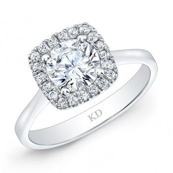 WHITE GOLD CUSHION HALO DIAMOND ENGAGEMENT RING