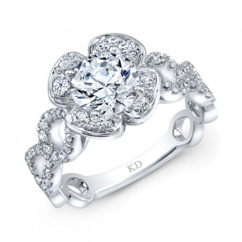 WHITE GOLD FASHION DIAMOND FLOWER ENGAGEMENT RING