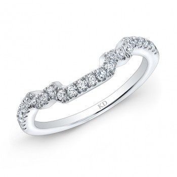 14K SINGLE ROW WHITE DIAMOND WEDDING BAND