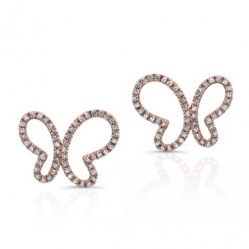 ROSE GOLD TRENDY BUTTERFLY DIAMOND EARRINGS
