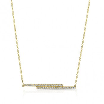 YELLOW GOLD FASHION BAR DIAMOND PENDANT