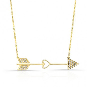YELLOW GOLD CLASSIC CUPID ARROW DIAMOND PENDANT