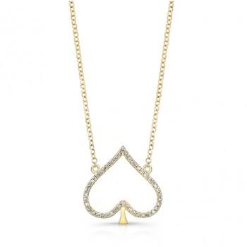 YELLOW GOLD TRENDY SPADE DIAMOND PENDANT