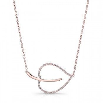 ROSE GOLD ELEGANT LEAF DIAMOND PENDANT