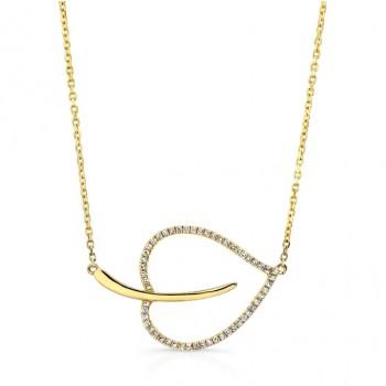 YELLOW GOLD ELEGANT LEAF DIAMOND PENDANT
