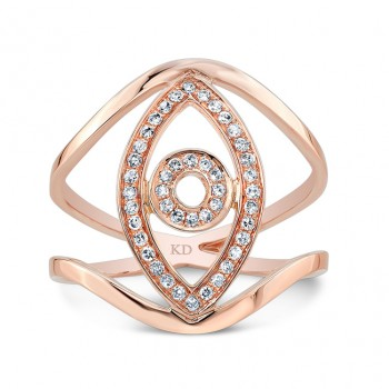 ROSE GOLD VERTICAL EVIL EYE DIAMOND RING