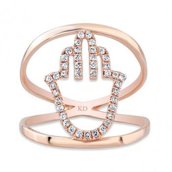 ROSE GOLD STYLISH HAMSA DIAMOND RING