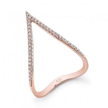 ROSE GOLD STYLISH CURVED V DIAMOND RING