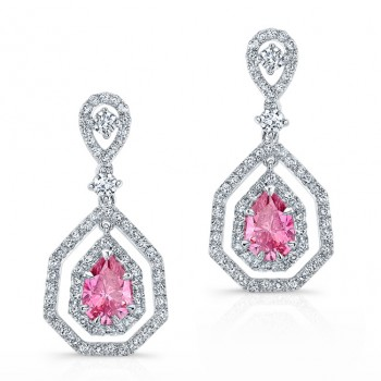WHITE GOLD ELEGANT PINK ENHANCED PEAR DIAMOND DROPLET EARRINGS