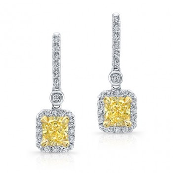 WHITE AND YELLOW GOLD ELEGANT FANCY YELLOW DIAMOND DROP EARRINGS